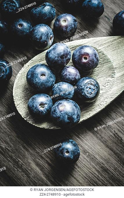 Close-up of scattered fresh blueberries on wooden spoon in daylight. Berry Cookery