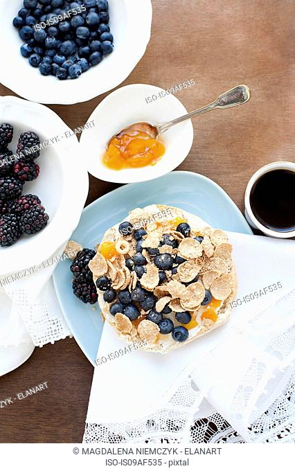 Breakfast cereal with blueberries