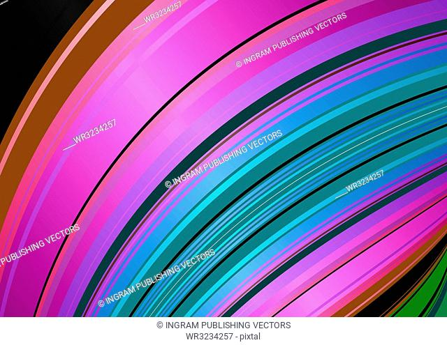 Abstract stripped background with flowing rainbow like pattern in pink and red