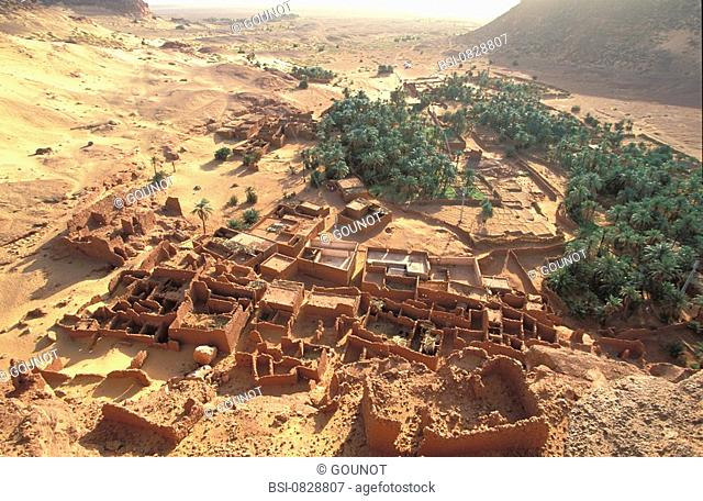 ALGERIA Ruins of Tindjillet ksar fortified village and its palm grove. Region of Gourara, at the limit of the Grand Erg Occidental, Algeria