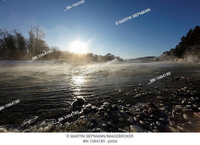 Sunset, Isar River near Geretsried, Upper Bavaria, Germany, Europe