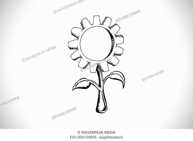 Composite image of sunflower doodle
