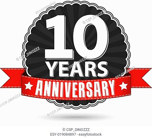 10 years anniversary retro label with red ribbon, vector illustration