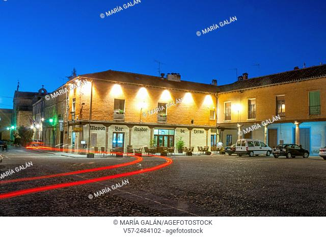 Main Square, night view. Lerma, Burgos province, Castilla Leon, Spain