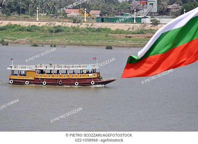 Phnom Penh (Cambodia): a touristic boat on the confluence of the Tonlé Sap, Mekong, and Bassac rivers