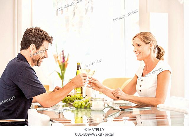 Mature couple sitting at table, holding wine glasses, making toast