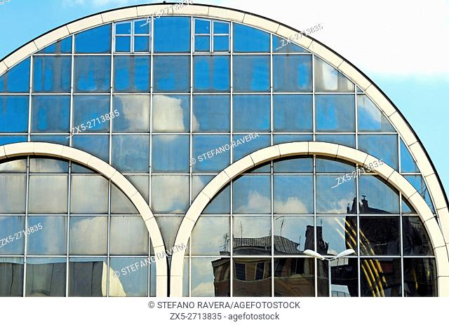 Reflection on the windows of the Air Terminal in Stazione Ostiense connects directly with the International Airport Leonardo Da Vinci - Rome, Italy