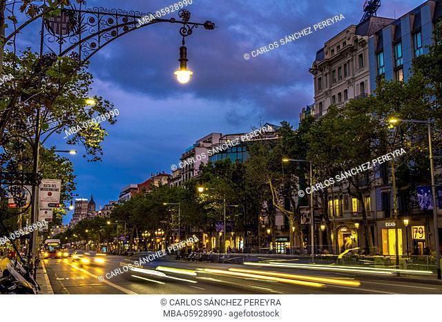 Paseo de Gracia Avenue, one of the main streets in Barcelona, Catalonia, Spain