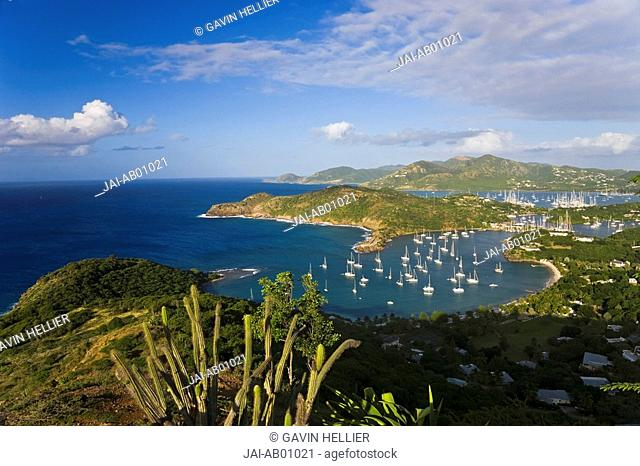 Caribbean, Antigua, English Harbour from Shirley Heights looking towards Nelson's Dockyard