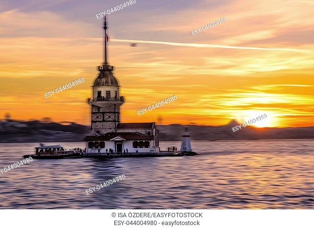 Motion Blurred:Sunset view of Maiden Tower,medieval building,lighthouse,Tower of Leandros over Bosphorus,Turkey