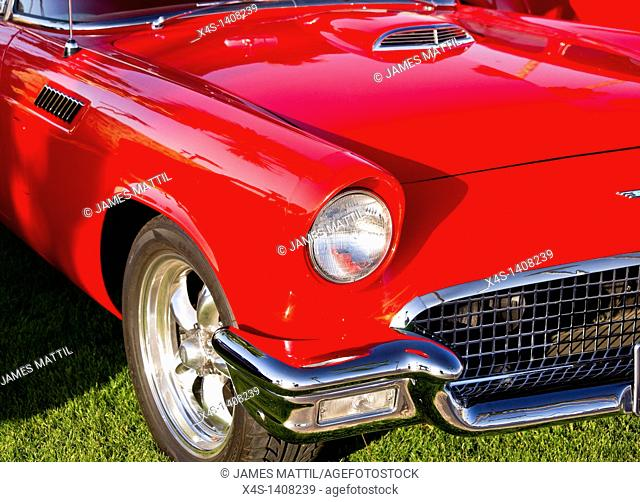 Close-up of a vintage Ford Thunderbird in red