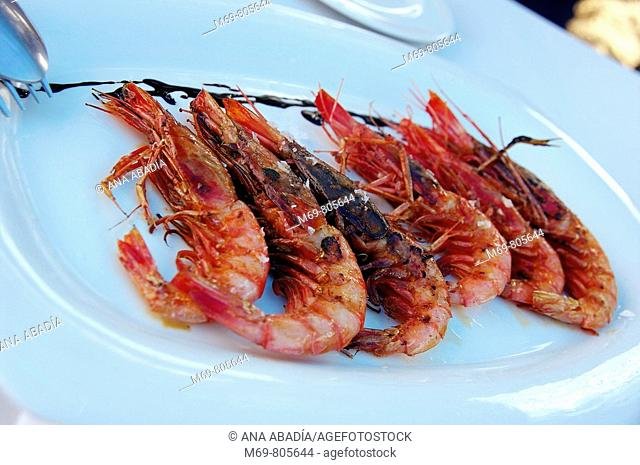 Grilled prawns, Soller. Majorca, Balearic Islands, Spain