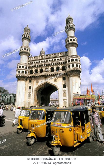 India, Andhra Pradesh, Hyderabad, Charminar, motor rickshaws