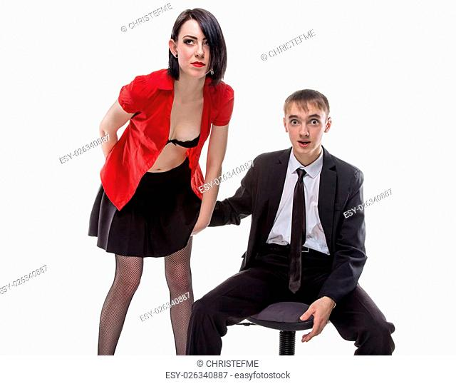 Woman and man with his hand under skirt. Isolated photo of people with white background