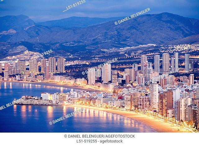 Night panoramic view of Benidorm, Alicante, Comunidad Valenciana, Spain