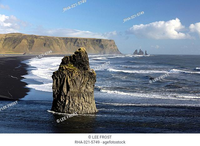 Dramatic coastline from Dyrholaey, looking towards Reynisdrangar, near Vik Y Myrdal, South Iceland, Polar Regions