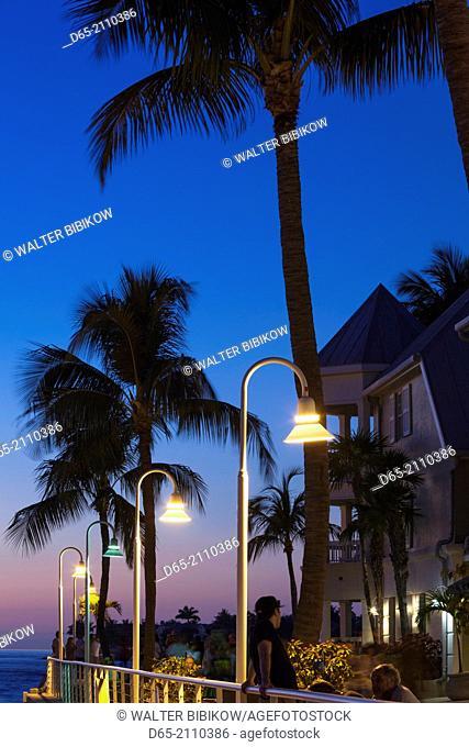 USA, Florida, Florida Keys, Key West, Key West Seaport, streetlamp, dusk