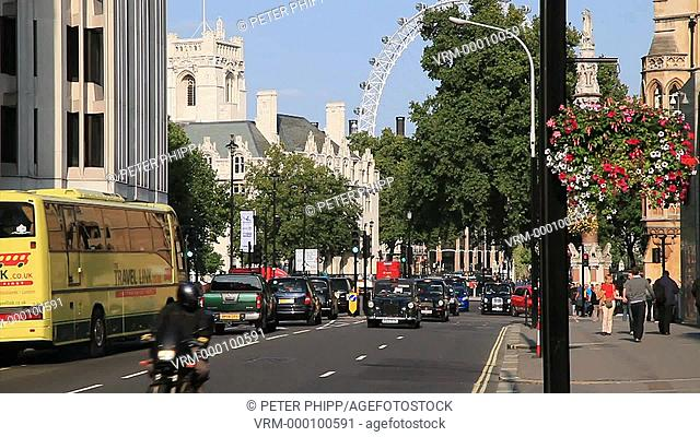 Taxis and traffic in Victoria near to Westminster in central London