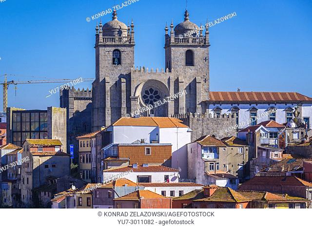 Aerial view with Se Cathedral in Porto city on Iberian Peninsula, second largest city in Portugal