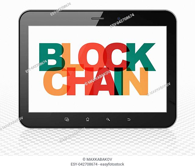 Currency concept: Tablet Pc Computer with Painted multicolor text Blockchain on display, 3D rendering