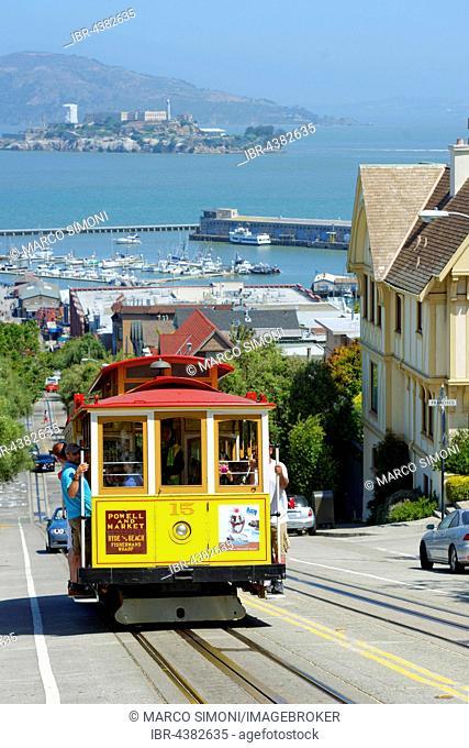 Cable car and Alcatraz Island, San Francisco, California, USA