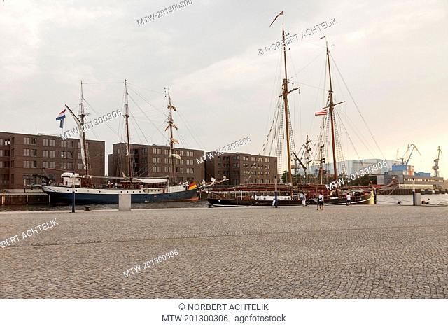 Sailboats moored at a harbour, Wismar, Mecklenburg-Vorpommern, Germany