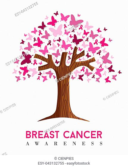Breast cancer awareness month concept illustration for support. Tree made of pink butterfly icons with text quote. EPS10 vector