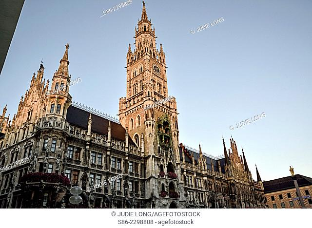 Late Day View of Munich, Germany City Hall and Glockenspiel Clock