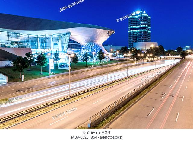 BMW Welt in evening, street shot, Munich, Bavaria, Germany