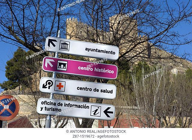 Signs, Almansa, Albacete province, Castilla-La Mancha, Spain