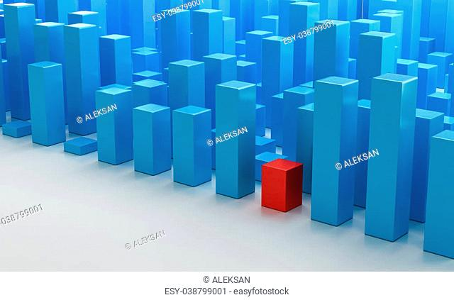 Blue 3D Blocks. Illustrates the individuality concept