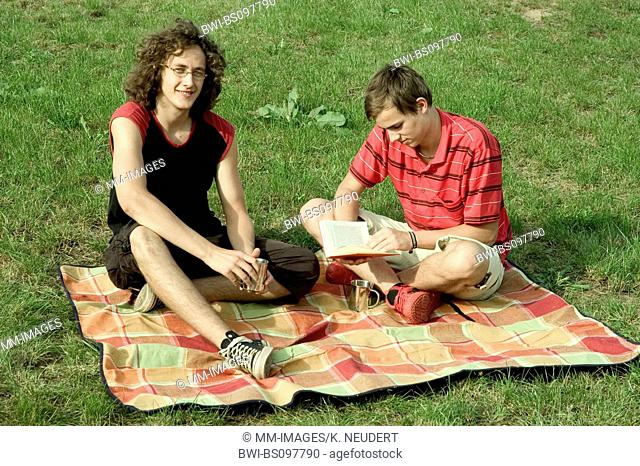 two young men in summer, Germany