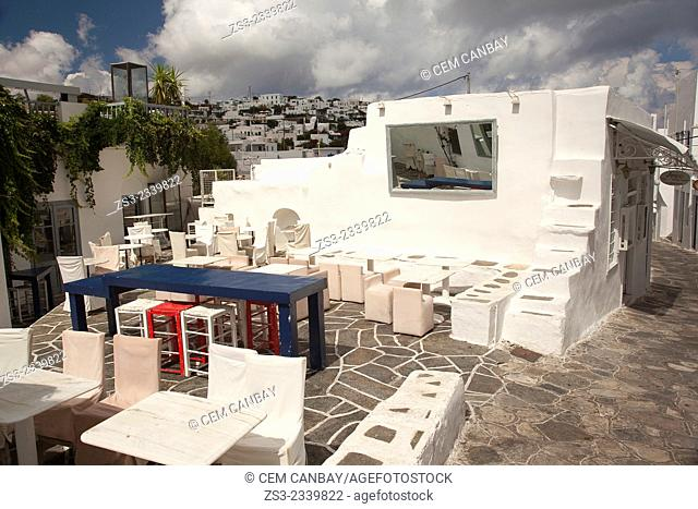 Street scene with whitewashed houses reflected through a mirror in Apollonia village, Sifnos, Cyclades Islands, Greek Islands, Greece, Europe
