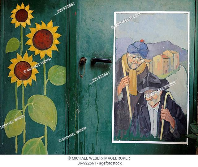 The gates of Valloria, art on doors, daylight museum, district of Dolcedo, Riviera dei Fiori, Liguria, Italy, Europe