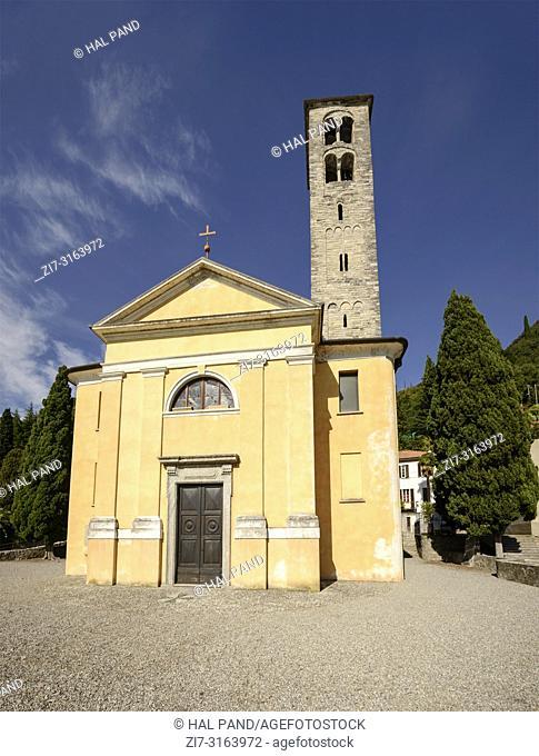 view of san Quirico church in village on shore of Lario lake, shot in bright fall light at Urio, Como, Italy
