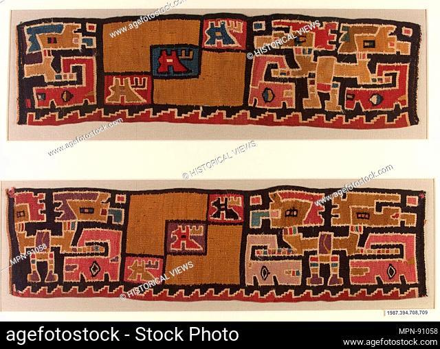 Cuff. Date: 7th-8th century; Geography: Peru, Huarmey province (?), Marañón River; Culture: Moche-Wari; Medium: Camelid hair