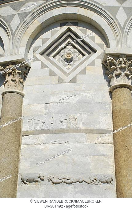 Detail relief of tower of Pisa Tuscany Italy