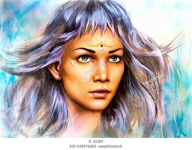 beautiful airbrush painting portrait of a young enchanting woman warrior with white silver hair make up ornament artist illustration abstract color background