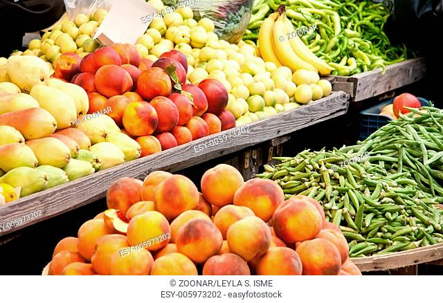 Fresh Organic Fruits and Vegetables At A Street Ma