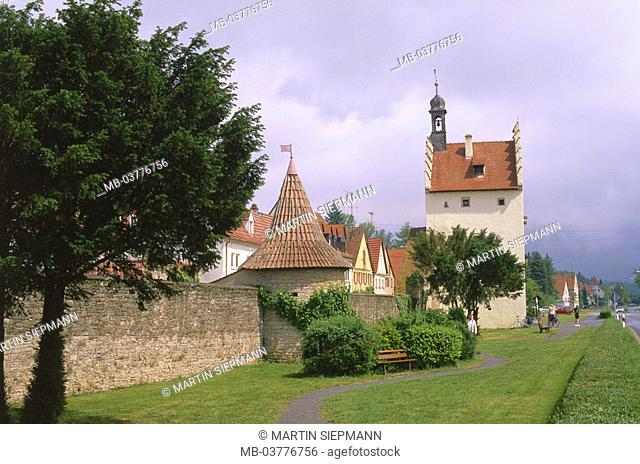 Germany, Bavaria, Lower Franconia, Brawn field at the Main, city wall,  Main gate, summer,  Main valley, skyline, wine village, city fortification