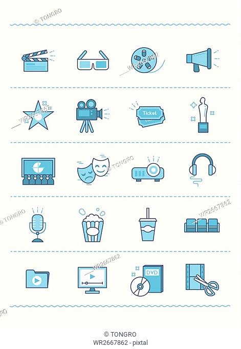 Set of various line icons related to cinema