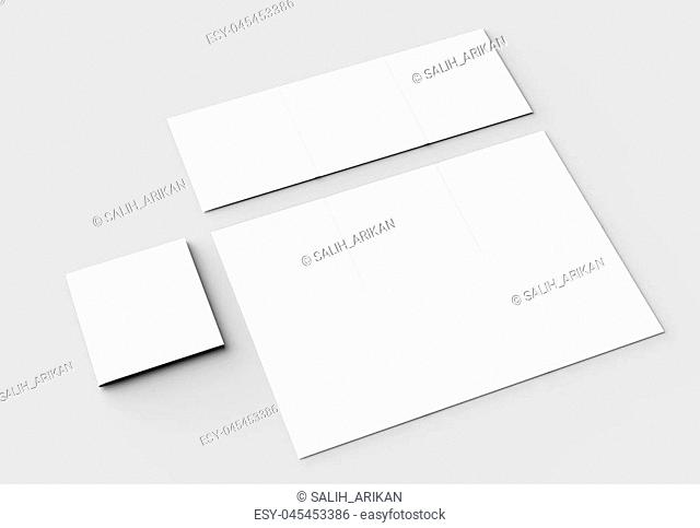 12 page leaflet - French fold square brochure mock up isolated on soft gray background. 3D illustrating