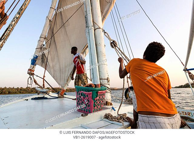 Sailors in felucca along the Nile