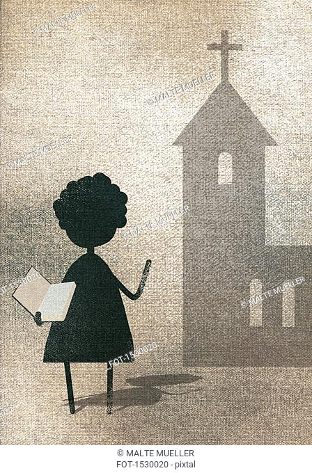 Illustration of woman showing Bible while standing outside church