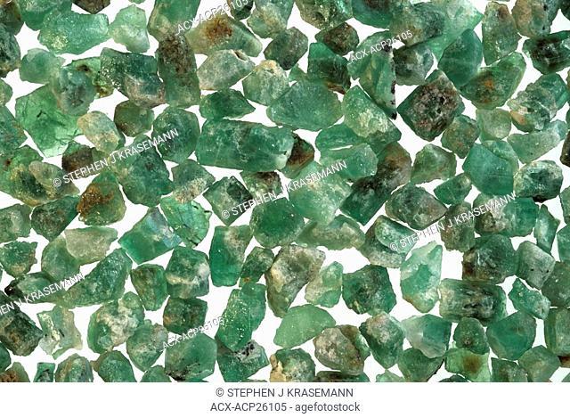 Emeralds a green beryl variety. Near gem rough crystals. Yukon Territory. Canada