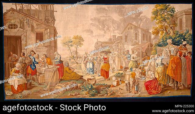 The Outdoor Market, from Village Festivals - 1775/89 - After a design by Étienne Jeaurat (1699-1789) Woven at the workshop of Léonard Roby (active c