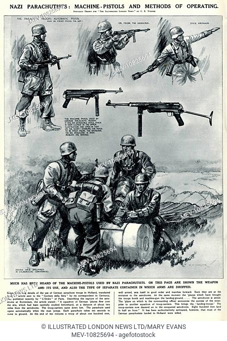 German Parachutists retrieving weapons and containers that have been dropped by planes