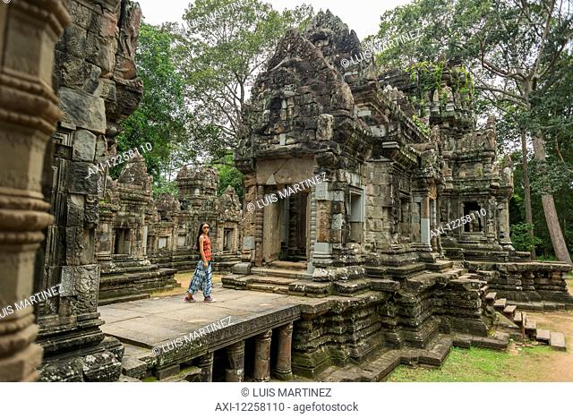Temple of Phimeanakas, built in the tenth Century by Rajendravarman and after rebuilt by Suryavarman II, Angkor; Siem Reap, Cambodia