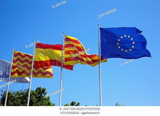 tarragona spanish catalan and eu flags flying catalonia spain