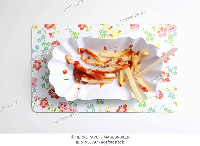 French fries with ketchup on a paper plate